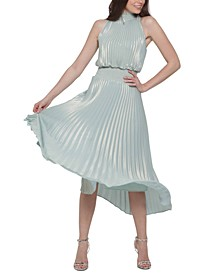 Pleated Metallic Midi Dress
