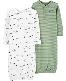 Baby Boys 2-Pk. Vehicles Sleeper Gowns