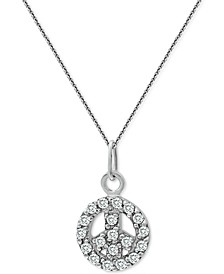"""Cubic Zirconia Peace Sign Pendant Necklace in Sterling Silver, 18"""" + 2"""" extender, Created for Macy's"""