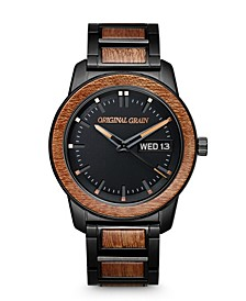 Men's Sapele Wood Paired with Black Stainless Steel Bracelet Watch 42mm