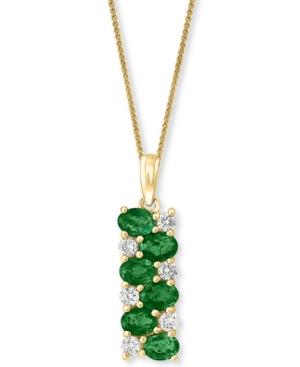 "Emerald (1-1/5 ct. t.w.) & Diamond (1/4 ct. t.w.) Rectangular 18"" Pendant Necklace in 14k Gold"