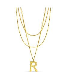 "Women's Gold-Tone Triple Layered ""R"" Initial Necklace"