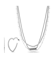 """Femme"" Layered Necklace and Heart Hoop Earring Set"