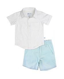 Toddler Boys Short Sleeve Shirt and Chino Shorts Set