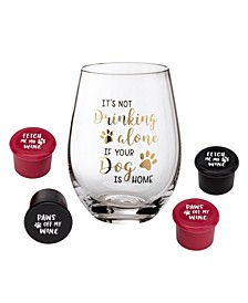 Dog Lover Wine Glass with Funny Saying and 4 Wine Bottle Stoppers