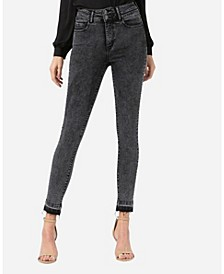 Super High Rise Double Button Released Hem Skinny Ankle Jeans