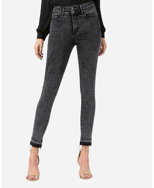 VERVET Super High Rise Double Button Released Hem Skinny Ankle Jeans