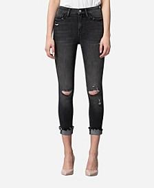 High Rise Distressed Cuffed Black Skinny Crop Jeans