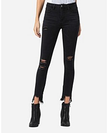 Mid Rise Distressed Shark Bite Zipper Hem Skinny Ankle Jeans