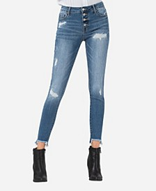 Mid Rise Button Up Fray Hem Skinny Ankle Jeans