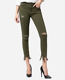 Mid Rise Uneven Broken Hem Side Zipper Skinny Ankle Jeans