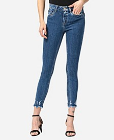 Mid Rise Aggressive Veining Uneven Fray Hem Skinny Ankle Jeans