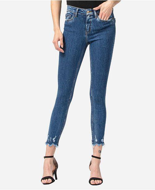 VERVET Mid Rise Aggressive Veining Uneven Fray Hem Skinny Ankle Jeans