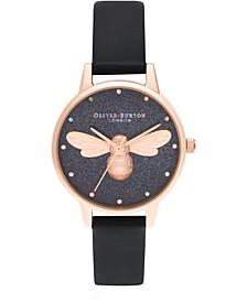 Women's Lucky Bee Black Vegan Leather Strap Watch 30mm