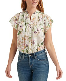 Printed Flutter-Sleeve Poet Top