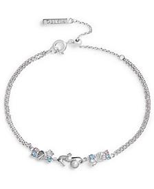 Imitation Pearl & Swarovski Crystal Seahorse Chain Bracelet in Rhodium-Plated Brass