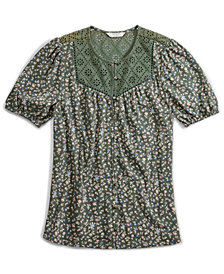 Lucky Brand Floral-Print Button-Down Top