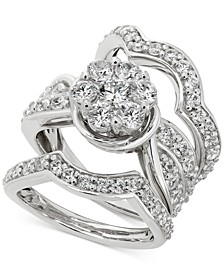 Diamond Cluster 3-Pc. Bridal Set (3 ct. t.w.) in 14k White gold