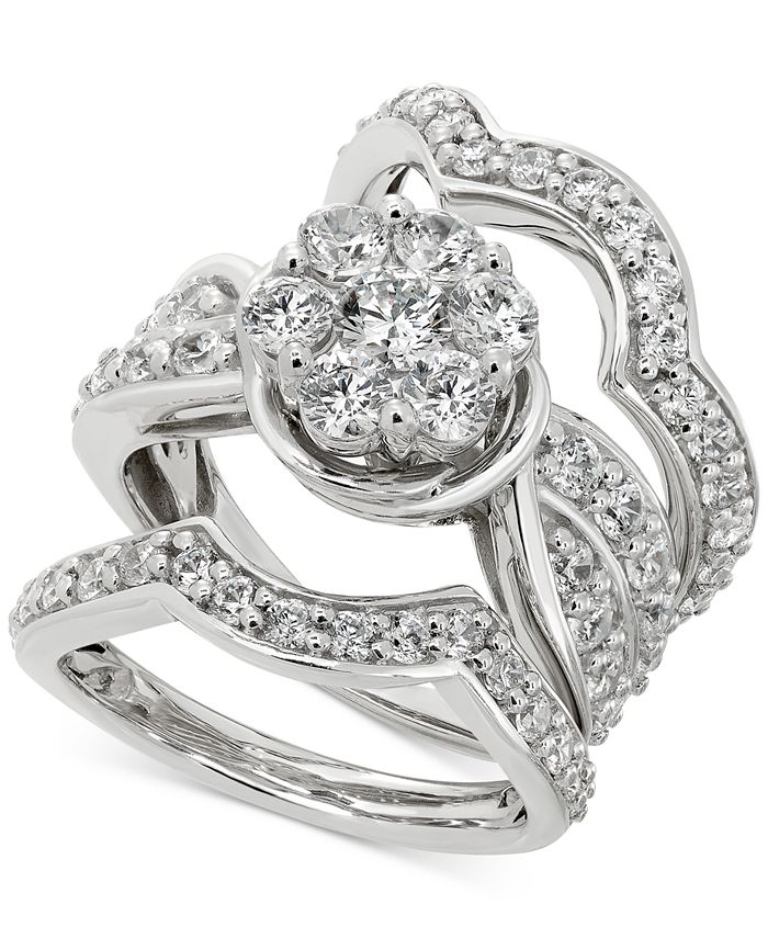 Macy's - Diamond Cluster 3-Pc. Bridal Set (3 ct. t.w.) in 14k White gold