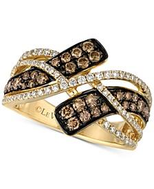 Chocolatier® Diamond Crossover Statement Ring (7/8 ct. t.w.) in 14k Gold
