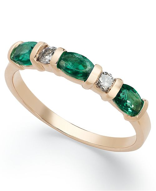 Macy's 14k Gold Ring, Emerald (3/4 ct. t.w.) and Diamond (1/8 ct. t.w.) Ring