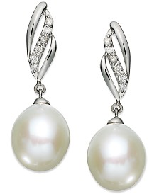 14k White Gold Earrings, Cultured Freshwater Pearl (9mm) and Diamond (1/10 ct. t.w.) Drop Earrings
