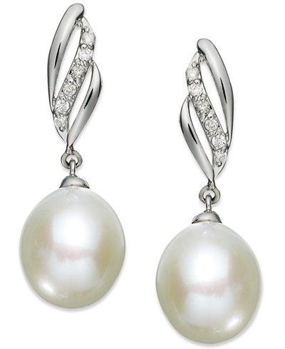 14k White Gold Earrings, Cultured Freshwater Pearl (9mm) and Diamond (1/10 ct. t.w.) Drop Earrings