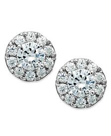 Diamond Halo Stud Earrings in 14k White Gold (1/2 ct. t.w.)