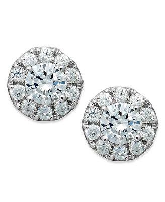 diamond halo stud earrings in 14k white gold 1 2 ct t w