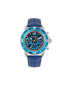 Men's Blue Heron Multi Leather Strap Watch, 44mm