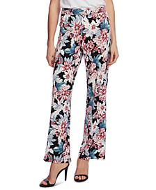 Petite Romantic Lilies Pull-On Pants