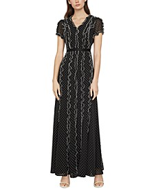 Swiss-Dot Ruffled Maxi Dress