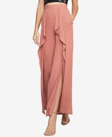 Jackie Draped Slit Wide-Leg Pants