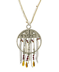 T.R.U. by 1928 Round Adorned Center Necklace with Tassel Chain and Swarovski Crystals