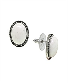 by 1928 Pewter Genuine White Howlite Oval Earring