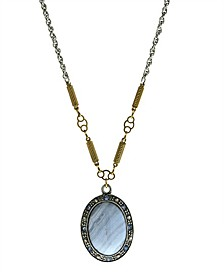 by 1928 Silver Tone Gold Tone Genuine Lace Oval Stone Drop Necklace