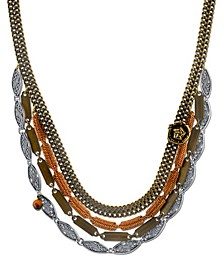 by 1928 Vintage-Like Chain Collar Necklace Rose Accent and Semi-Precious Tiger's Eye