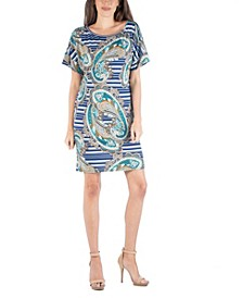 Women's Loose Fit Paisley T-Shirt Dress