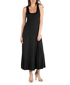 24seven Comfort Apparel Slim Fit A-Line Sleeveless Maxi Dress