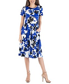 Geometric Painted Short Sleeve Midi Dress
