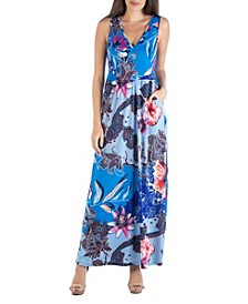 Paisley Floral Sleeveless Maxi Dress with Pocket Det