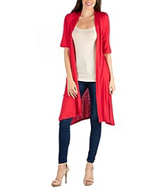 Half Sleeve Open Front Cardigan with Side Slit