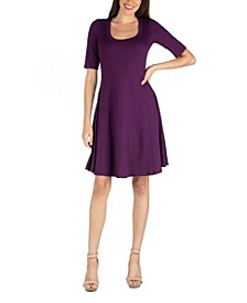 A-Line Knee Length Dress with Elbow Length Sleeves