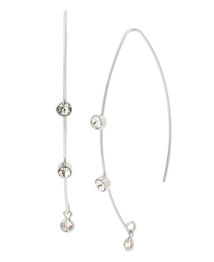 "Jessica Simpson - CZ Stone Threader Earrings, 2.2"""