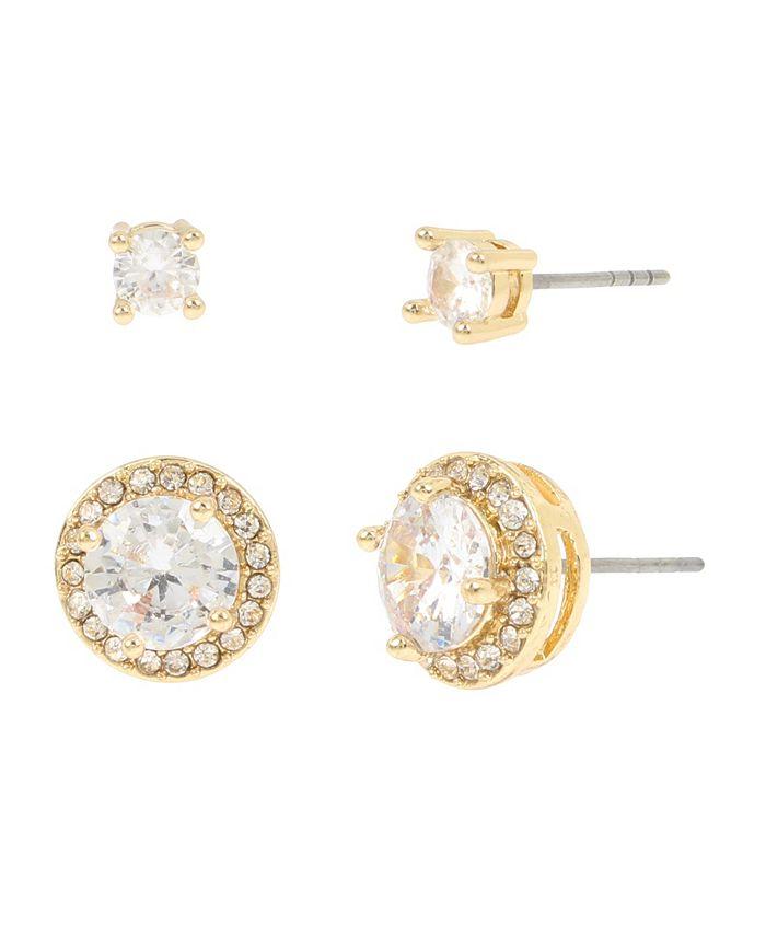 "Jessica Simpson - CZ Halo Stud Earrings Set, 0.2""-0.5"""