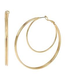 """Double Row Hoop Earrings, 2.5"""""""
