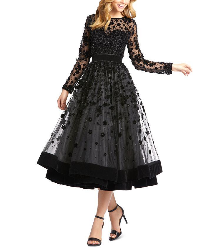 MAC DUGGAL - Floral-Embellished Fit & Flare Midi Dress