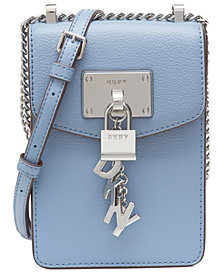 DKNY Elissa Pebble Leather Charm Chain Strap Crossbody, Created for Macy's