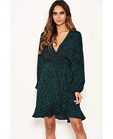 Women's Leopard Print Wrap Dress