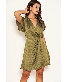 Women's Polka Dot Pleated Wrap Dress